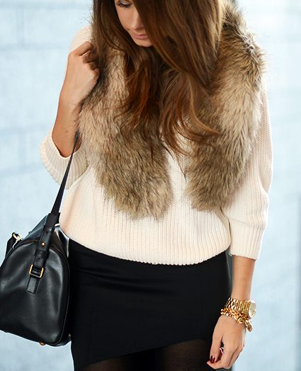 black & white with faux fur