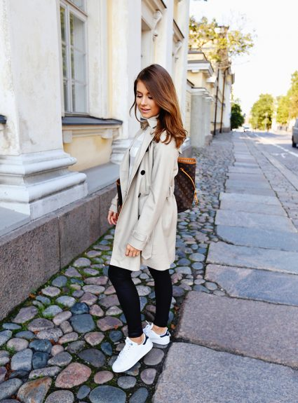 trench with stripes & sneakers