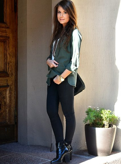 army green & black leather